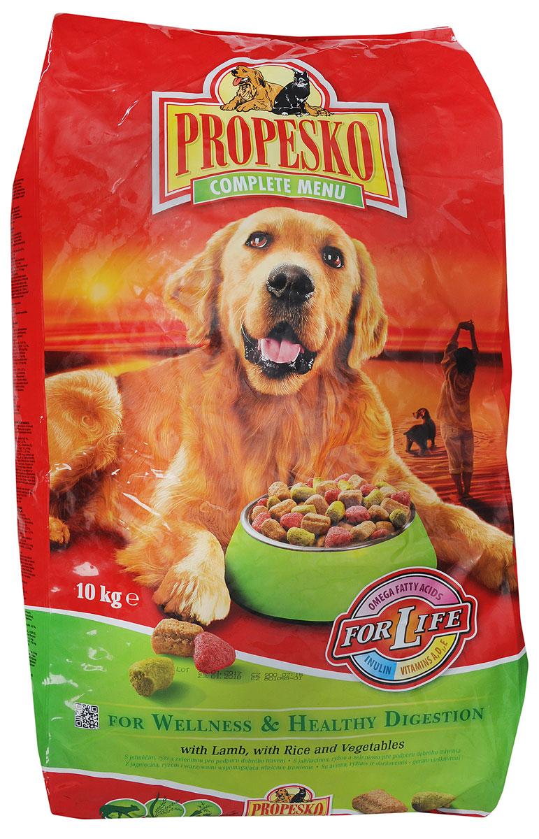Корм сухой Propesko для собак, с ягненком, рисом и овощами, 10 кг0120710Сухой корм Propesko с ягненком, рисом и овощами - полнорационное питание для собак. Содержание белка обеспечивает достаточный запас энергии в течение дня, витамин А - хорошее зрение, а витамин D3 помогает держать кости и зубы крепкими.Корм Propesko содержит три типа сухих гранул, которые обеспечивают собаке хорошее здоровье, крепкие зубы и кости, острое зрение, максимальную усвояемость. Оптимальный состав, высококачественное сырье и хорошо усваиваемые компоненты обеспечивают собаку животным и растительным белком, животным жиром и растительными маслами. Корм обогащается минералами, микроэлементами и витаминами А, D3, E. Это гарантирует вашей собаке хорошее здоровье и отличную физическую форму.Товар сертифицирован.