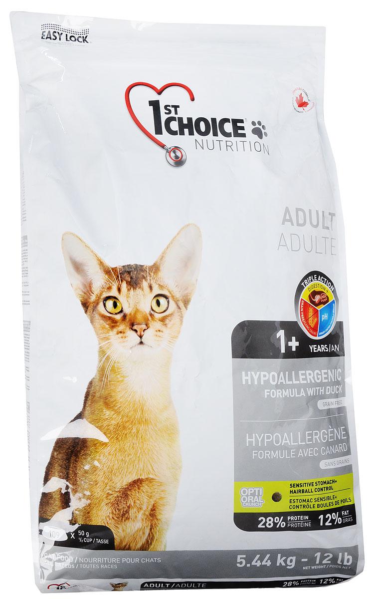 Корм сухой 1st Choice Adult для взрослых кошек, гипоаллергенный, беззерновой, с уткой и картофелем, 5,44 кг0120710Сухой корм 1st Choice Adult - гипоаллергенная формула разработана для животных с проблемами пищеварения, не содержит зерновых продуктов и является альтернативой при восприимчивости к традиционным источникам белка. Это действительно уникальный диетический продукт, направленный на поддержание оптимального здоровья кошек с особыми пищевыми потребностями. Уникальный гипоаллергенный белок мяса утки подходит для кошек с пищевой непереносимостью традиционных источников белка. Не содержит зерна, что облегчает переваривание. Это важно для кошек, чувствительных к зерновым продуктам в корме. Лосось и растительные масла поддерживают здоровье кожного покрова и шерсти и благотворно влияют на внешний вид кошек, склонных к аллергии.Товар сертифицирован.
