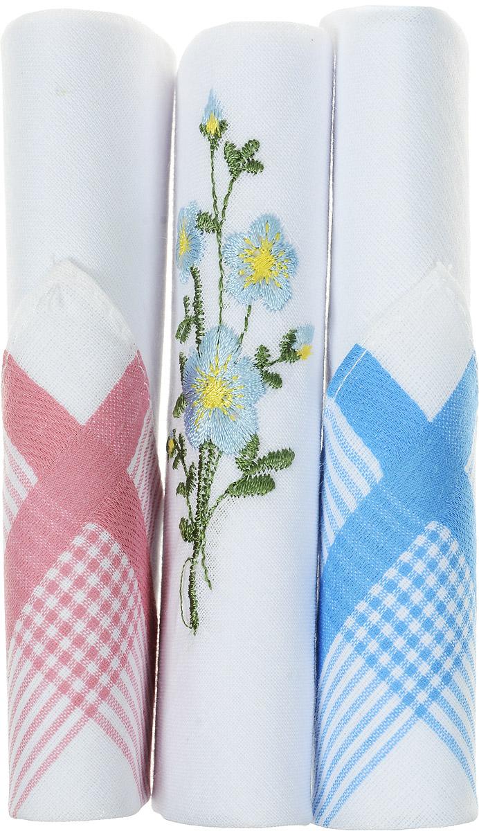 Платок носовой женский Zlata Korunka, цвет: голубой, белый, розовый, 3 шт. 40423-109. Размер 28 см х 28 смСерьги с подвескамиНебольшой женский носовой платок Zlata Korunka изготовлен из высококачественного натурального хлопка, благодаря чему приятен в использовании, хорошо стирается, не садится и отлично впитывает влагу. Практичный и изящный носовой платок будет незаменим в повседневной жизни любого современного человека. Такой платок послужит стильным аксессуаром и подчеркнет ваше превосходное чувство вкуса.В комплекте 3 платка.