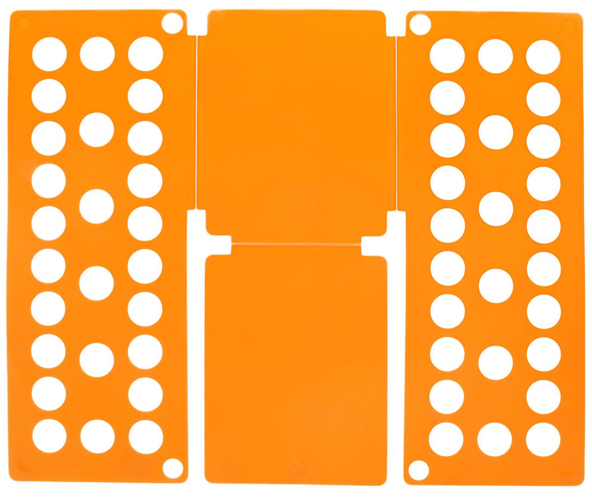 Приспособление для складывания одежды Sima-land, цвет: оранжевый97526Приспособление для складывания одежды Sima-land поможет навести порядок в вашем шкафу. С ним вы сможете быстро и аккуратно сложить вещи. Приспособление подходит для складывания полотенец, рубашек поло, вещей с короткими и длинными рукавами, футболок, штанов. Не подойдет для больших размеров одежды. Приспособление выполнено из качественного прочного пластика. Изделие компактно складывается и не занимает много места при хранении. Размер в сложенном виде: 40 х 16 см.Размер в разложенном виде: 48 х 40 см.