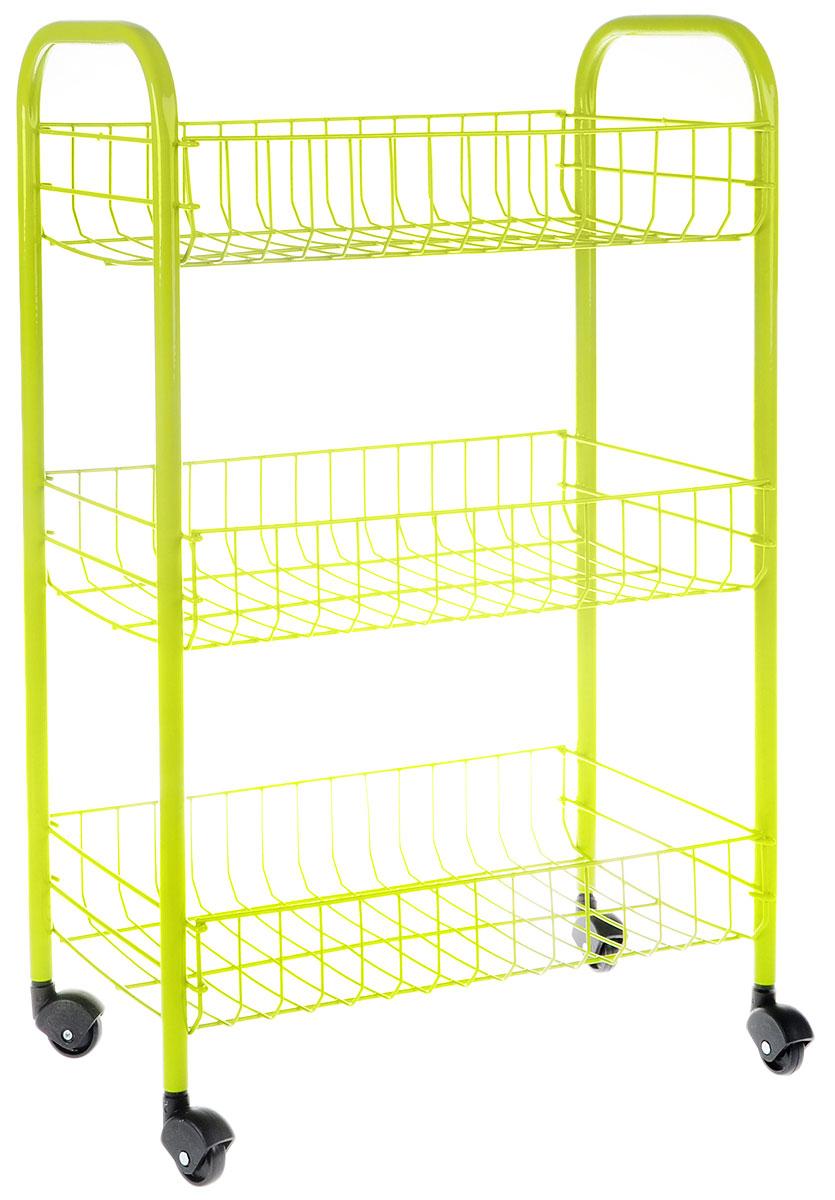 Этажерка Metaltex  Siena Color , 3-уровневая, цвет: салатовый, 41 x 23 x 63 см - Товары для хранения