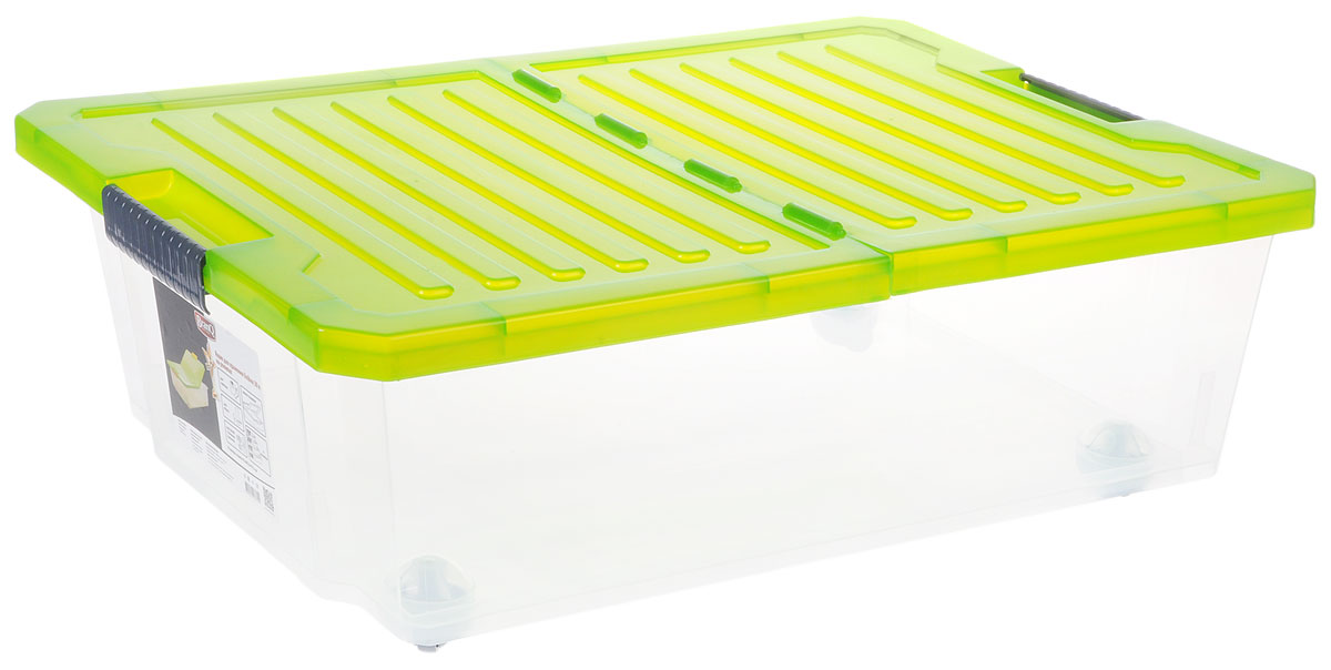 Ящик для хранения BranQ Unibox, на колесиках, цвет: зеленый, прозрачный, серый, 30 л28907 4Универсальный ящик для хранения BranQ Unibox, выполненный из прочного пластика, поможет правильно организовать пространство в доме и сэкономить место. В нем можно хранить все, что угодно: одежду, обувь, детские игрушки и многое другое. Прочный каркас ящика позволит хранить как легкие вещи, так и переносить собранный урожай овощей или фруктов. Изделие оснащено двухсторонней крышкой с защелками, которая защитит вещи от пыли, грязи и влаги. С помощью колесиков на дне изделия ящик легко перемещать по комнате.