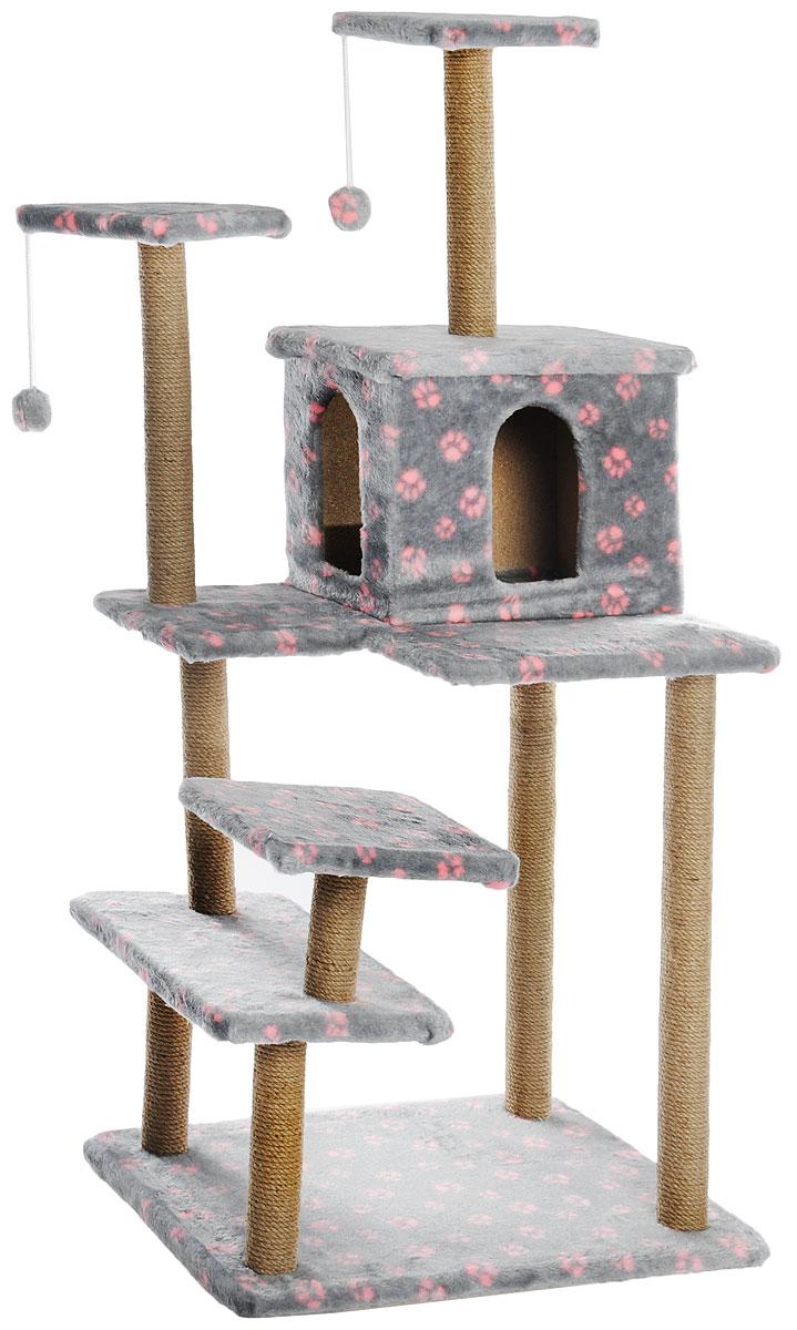 Игровой комплекс для кошек Меридиан Семейный, цвет: серый, розовый, бежевый, 70 х 65 х 150 смД341ССИгровой комплекс для кошек Меридиан Семейный выполнен из высококачественного ДВП и ДСП и обтянут искусственным мехом. Изделие предназначено для кошек. Ваш домашний питомец будет с удовольствием точить когти о специальные столбики, изготовленные из джута. А отдохнуть он сможет либо на полках, либо в домике. Сверху имеются 2 подвесные игрушки, которые привлекут внимание кошки к когтеточке.Общий размер: 70 х 65 х 150 см.Размер полок: 31 х 31 см, 26 х 26 см (2 полки), 59 х 24 см.Размер домика: 41 х 33 х 35 см.