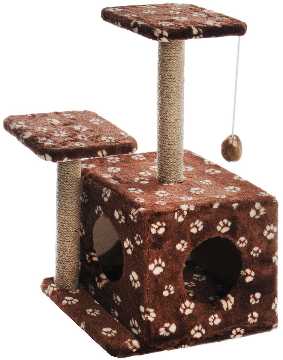Игровой комплекс для кошек Меридиан, с домиком и когтеточкой, цвет: темно-коричневый, белый, бежевый, 45 х 47 х 75 см0120710Игровой комплекс для кошек Меридиан выполнен из высококачественного ДВП и ДСП и обтянут искусственным мехом. Изделие предназначено для кошек. Ваш домашний питомец будет с удовольствием точить когти о специальный столбик, изготовленный из джута. А отдохнуть он сможет либо на полках разной высоты, либо в расположенном внизу домике. Также комплекс оснащен подвесной игрушкой, которая привлечет вашего питомца.Общий размер: 45 х 47 х 75см.Размер домика: 45 х 36 х 32 см.Высота полок (от пола): 75 см, 45 см.Размер полок: 26 х 26 см.