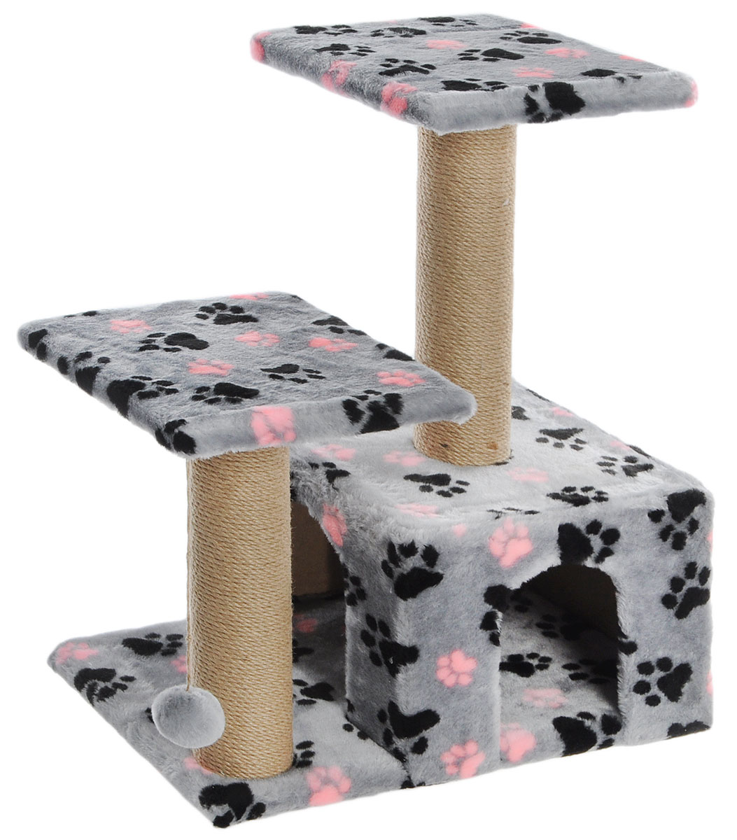 Игровой комплекс для кошек Гамма, двухуровневый, цвет: серый, черный, розовый, 57 х 35 х 77 см