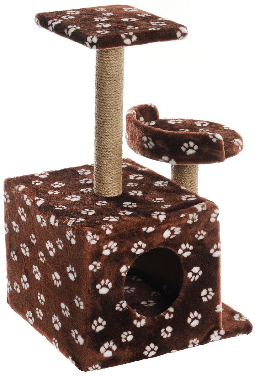 Игровой комплекс для кошек Меридиан, с домиком и когтеточкой, цвет: темно-коричневый, белый, бежевый, 35 х 45 х 75 см0120710Игровой комплекс для кошек Меридиан выполнен из высококачественного ДВП и ДСП и обтянут искусственным мехом. Изделие предназначено для кошек. Ваш домашний питомец будет с удовольствием точить когти о специальные столбики, изготовленные из джута. А отдохнуть он сможет либо на полках разной высоты, либо в расположенном внизу домике.Общий размер: 35 х 45 х 75 см.Размер домика: 46 х 37 х 33 см.Высота полок (от пола): 74 см, 45 см.Размер полок: 27 х 27 см, 26 х 26 см.