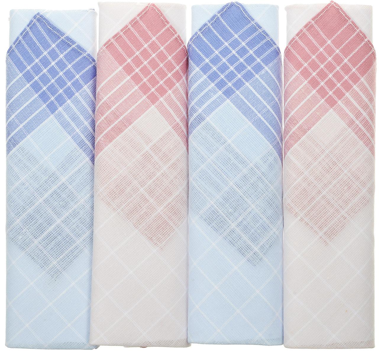 Платок носовой женский Zlata Korunka, цвет: белый, голубой, бордовый, 4 шт. 71420-28. Размер 28 см х 28 смСерьги с подвескамиОригинальный женский носовой платок Zlata Korunka изготовлен из высококачественного натурального хлопка, благодаря чему приятен в использовании, хорошо стирается, не садится и отлично впитывает влагу. Практичный и изящный носовой платок будет незаменим в повседневной жизни любого современного человека. Такой платок послужит стильным аксессуаром и подчеркнет ваше превосходное чувство вкуса.
