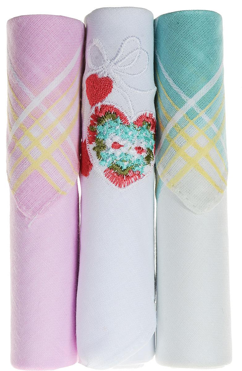 Платок носовой женский Zlata Korunka, цвет: розовый, белый, бирюзовый, 3 шт. 40423-3. Размер 28 см х 28 см39864|Серьги с подвескамиНебольшой женский носовой платок Zlata Korunka изготовлен из высококачественного натурального хлопка, благодаря чему приятен в использовании, хорошо стирается, не садится и отлично впитывает влагу. Практичный и изящный носовой платок будет незаменим в повседневной жизни любого современного человека. Такой платок послужит стильным аксессуаром и подчеркнет ваше превосходное чувство вкуса.В комплекте 3 платка.
