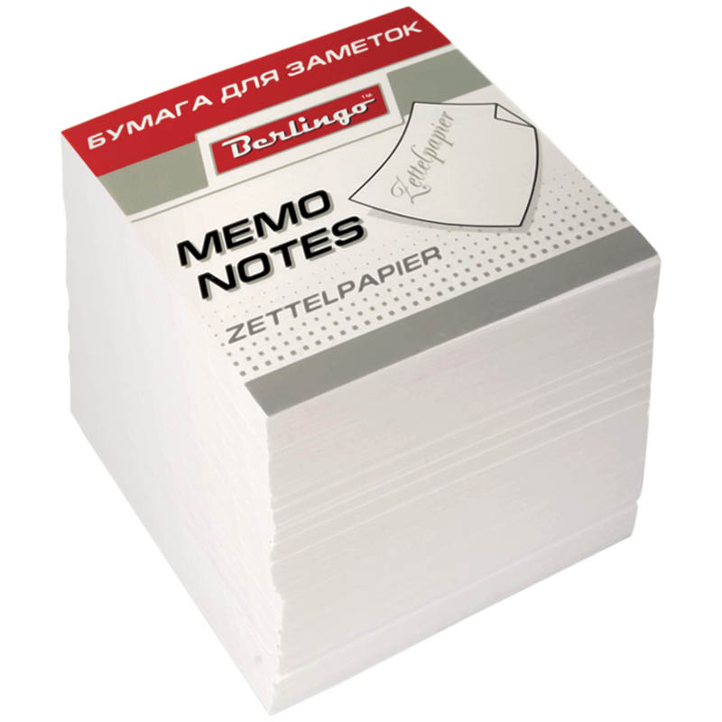 Berlingo Бумага для заметок Standard 9 х 9 х 9 см цвет белый 1000 листов62026Бумага для заметок Berlingo Standard - это удобное и практичное решение для быстрой записи информации дома или на работе.Подходит для бокса Berlingo ZP7608.