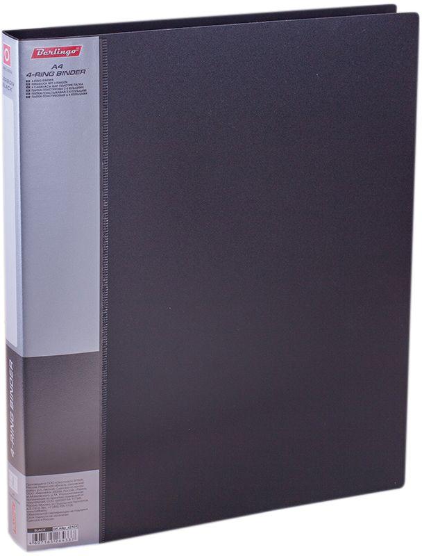 Berlingo Папка на 4-х кольцах Standard цвет черныйABp_42101Папка на 4-х кольцах Standard, предназначенная для хранения перфорированных документов, изготовлена из плотного пластика. Кольцевой механизм надежно держит документы и файлы. Сменная этикета на корешке позволяет маркировать содержимое. На внутренней стороне обложки размещен карман для записей.Такая папка станет вашим надежным помощником, она защитит документы от повреждения, пыли и влаги.