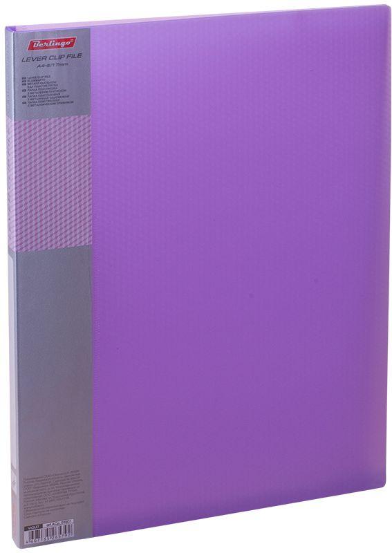 Berlingo Папка с зажимом Diamond цвет фиолетовыйFS-36054Папка с зажимом Diamond позволяет хранить и переносить документы, защищает их от пыли. Металлический зажим надежно фиксирует документы, не повреждая их. Изготовлена из плотного полупрозрачного пластика. Классические офисные цвета в ассортименте. Обложка папки оформлена легким голографическим принтом в кубик. В корешок папки вставляется лист для описания и названия.
