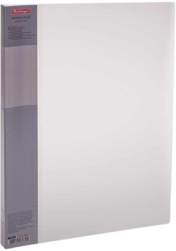 Berlingo Папка-скоросшиватель Diamond цвет прозрачный белыйFS-54109Папка с зажимом Diamond позволяет хранить и переносить документы, защищает их от пыли. Пружинный механизм из металла надежно фиксирует документы. Позволяет хранить документы формата А4. Подходит как для перфорированных документов, так и для папок-вкладышей со стандартной перфорацией. Изготовлена из плотного полупрозрачного пластика. Классические офисные цвета в ассортименте. Обложка папки оформлена легким голографическим принтом в кубик. В корешок папки вставляется лист для описания и названия.