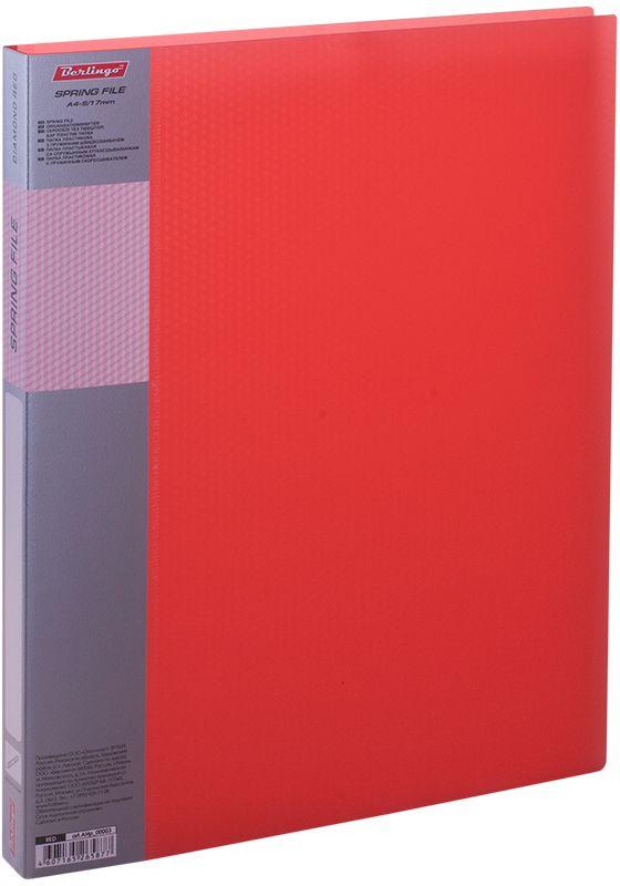 Berlingo Папка-скоросшиватель Diamond цвет прозрачный красныйAHp_00003Папка с зажимом Diamond позволяет хранить и переносить документы, защищает их от пыли. Пружинный механизм из металла надежно фиксирует документы. Позволяет хранить документы формата А4. Подходит как для перфорированных документов, так и для папок-вкладышей со стандартной перфорацией. Изготовлена из плотного полупрозрачного пластика. Классические офисные цвета в ассортименте. Обложка папки оформлена легким голографическим принтом в кубик. В корешок папки вставляется лист для описания и названия.