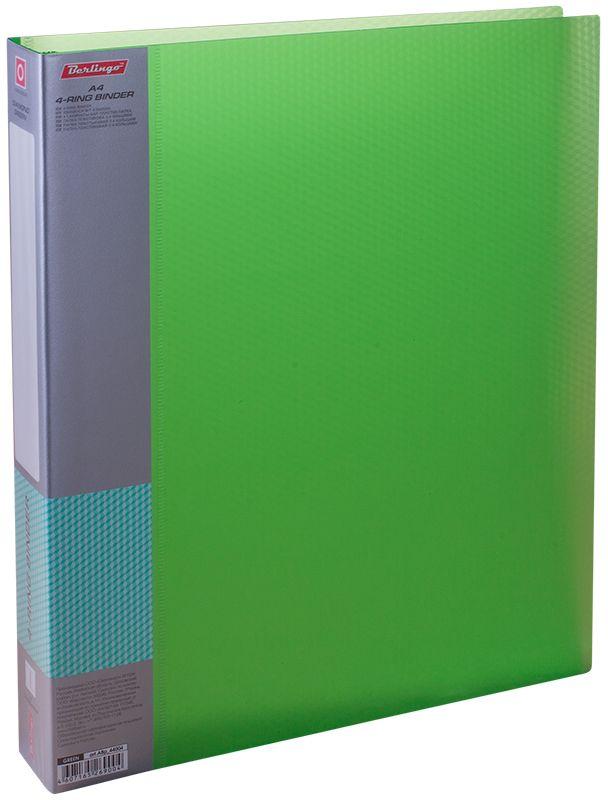 Berlingo Папка на 4-х кольцах Diamond цвет зеленыйFS-00103Папка на 4-х кольцах Diamond для хранения перфорированных документов изготовлена из пластика. Кольцевой механизм надежно держит документы и файлы. В корешок папки вставляется лист для описания и названия. Классические офисные цвета в ассортименте. Обложка папки оформлена легким голографическим принтом в кубик.