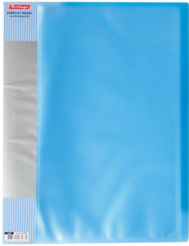 Berlingo Папка Diamond с 40 вкладышами цвет синийABp_24101Функциональная папка с прозрачными вкладышами удобна для хранения и демонстрации документов А4. На папке предусмотрена сменная этикетка на корешке для маркировки. Изготовлена из фактурного полупрозрачного пластика.Ширина корешка - 21 мм.