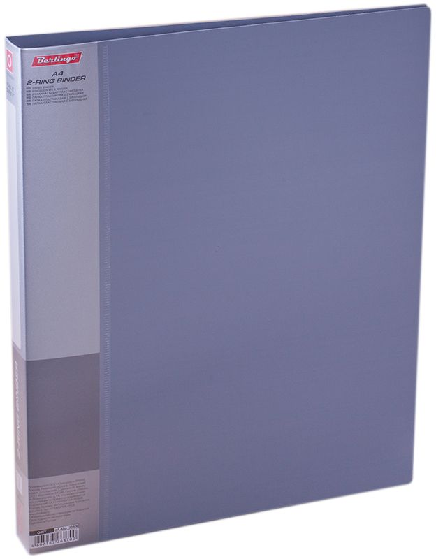 Berlingo Папка на 2-х кольцах Standard цвет серый816821/816825Папка на 2-х кольцах Standard для хранения перфорированных документов изготовлена из пластика. Кольцевой механизм надежно держит документы и файлы. В корешок папки вставляется лист для описания и названия. Классические офисные цвета в ассортименте.