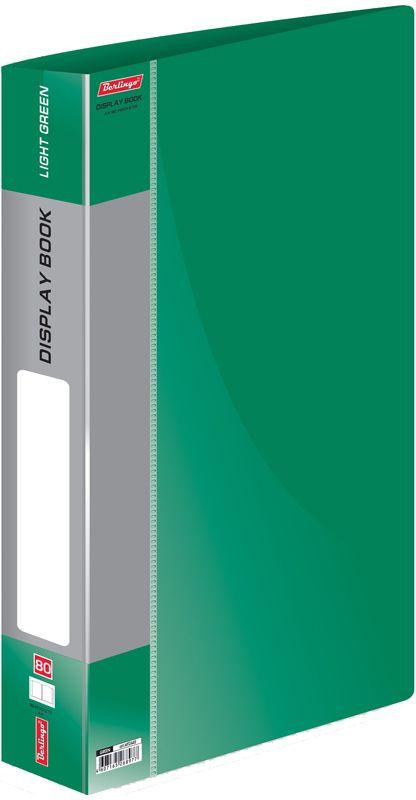 Berlingo Папка Standard с 80 вкладышами цвет зеленыйFS-00103Функциональная папка Standard с прозрачными вкладышами удобна для хранения и демонстрации документов А4. На корешке имеется сменная этикетка для маркировки.Изготовлена из плотного пластика. Ширина корешка - 40 мм.