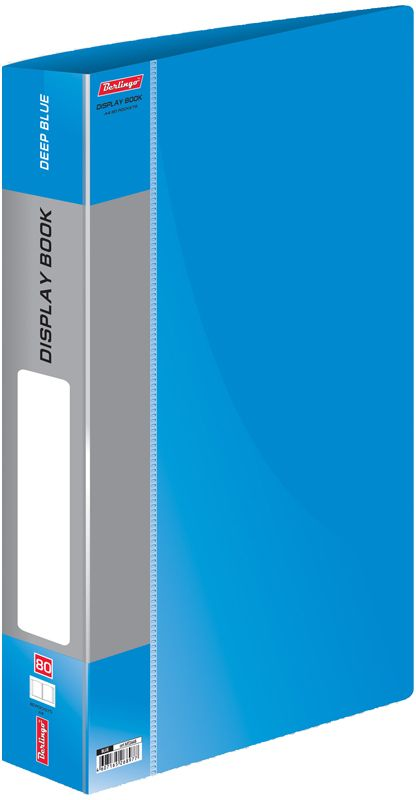 Berlingo Папка Standard с 80 вкладышами цвет синийABp_24104Функциональная папка Standard с прозрачными вкладышами удобна для хранения и демонстрации документов А4. На корешке имеется сменная этикетка для маркировки.Изготовлена из плотного пластика. Ширина корешка - 40 мм.