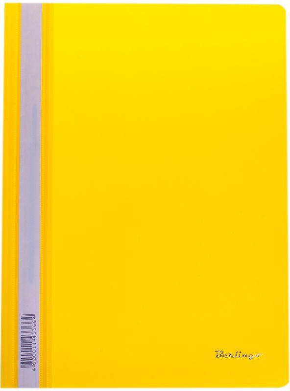 Berlingo Папка-скоросшиватель цвет желтый 20 штFS-54100Папка-скоросшиватель Berlingo - это удобный и практичный офисный инструмент, предназначенный для бережного хранения и транспортировки перфорированных рабочих бумаг и документов формата А4.Папка изготовлена из полупрозрачного фактурного пластика толщиной 0,7 см, оснащена металлическим пружинным скоросшивателем и дополнена прозрачным кармашком на корешке со съемной этикеткой для маркировки.Папка-скоросшиватель надежно сохранит ваши документы и сбережет их от повреждений, пыли и влаги.