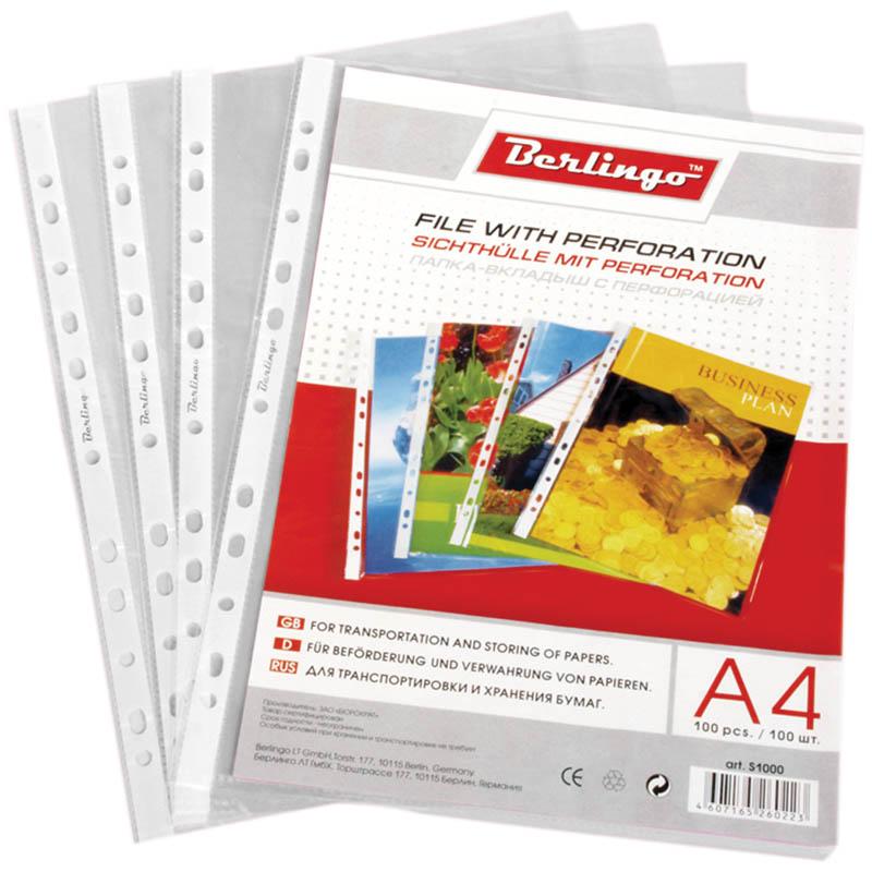 Berlingo Файл-вкладыш с перфорацией глянцевый формат А4 100 шт S1000FS-00897Файл-вкладыш Berlingo формата А4 с универсальной перфорацией с глянцевой поверхностью, идеально подходит для подшивки бумаг в архивные папки без перфорирования дыроколом, и просто для хранения различных документов. В наборе 20 файлов-вкладышей. Каждый файл изготовлен из высококачественного пластика в прозрачном цвете.С файлами-вкладышами все ваши документы будут всегда в безопасности.