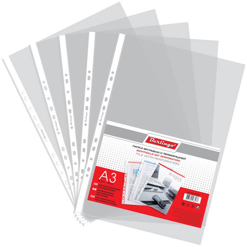 Berlingo Папка-вкладыш с перфорацией матовая формат А3 50 штS1110Матовая папка-вкладыш Berlingo с перфорацией предназначена для подшивки бумаг в архивные папки без перфорирования дыроколом.В комплект входят 50 папок-вкладышей. Каждая папка изготовлена из качественного материала.С такой папкой все ваши документы будут всегда в безопасности.