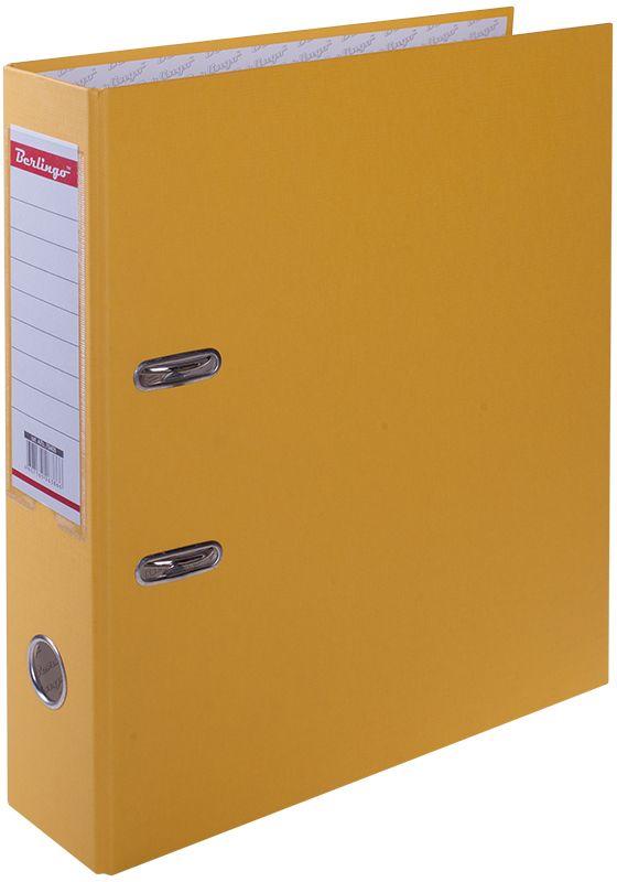 Berlingo Папка-регистратор цвет желтый ATb_70405FS-54384Папка позволяет хранить большое количество документации формата А4. Выгодно отличаются надежным механизмом из качественного металла, наличием кармана на корешке со сменным информационным ярлыком для маркировки, полем для записей на внутренней стороне обложки, отверстием для удобного снятия папки с полки. Незаменима для отделов с большим документооборотом - бухгалтерии, службы персонала.
