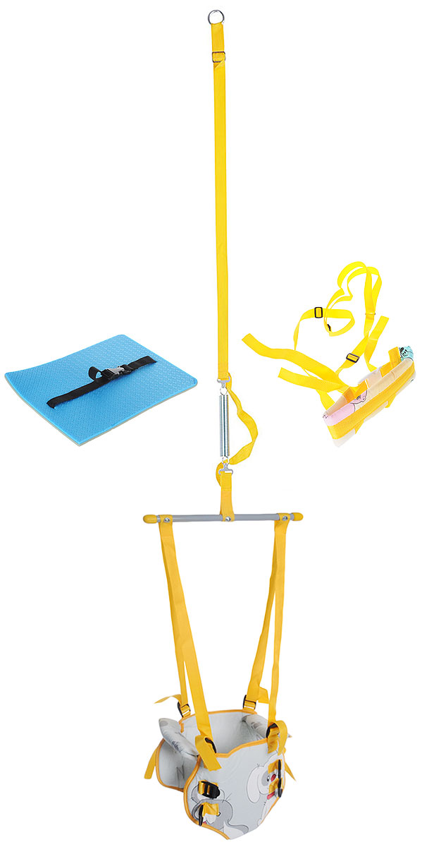 Фея Тренажер-прыгунки 4 в 1 цвет серый желтый - Ходунки, прыгунки, качалки