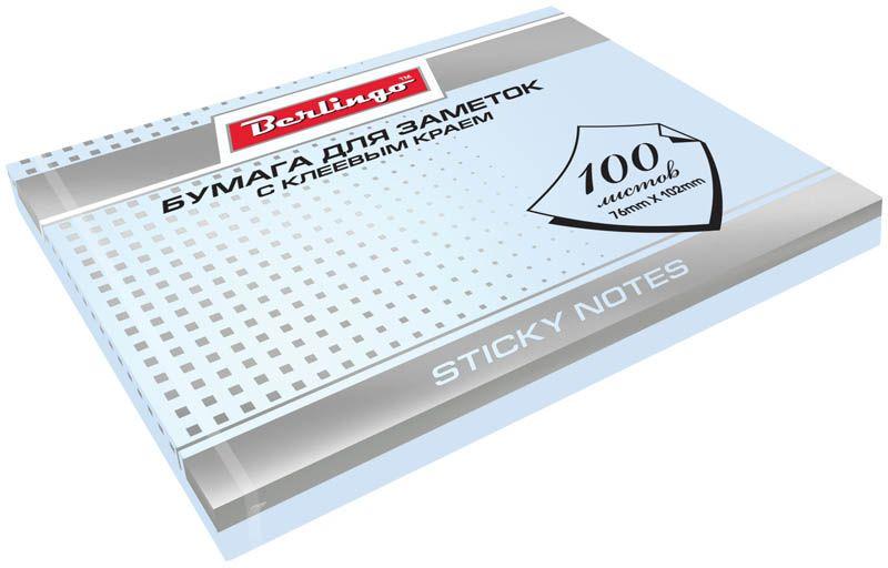 Berlingo Бумага для заметок с липким краем 7,6 х 10,2 см цвет голубой 100 листов365432Бумага для заметок с липким краем Berlingo - это удобное и практическое решение для быстрой записи информации дома или на работе.Блок бумаги с клеевым краем рассчитанный на крепление к любой поверхности, не оставляет следов. Блок имеет голубой цвет. Размер блока - 76 х 102 мм. В блоке 100 листов.