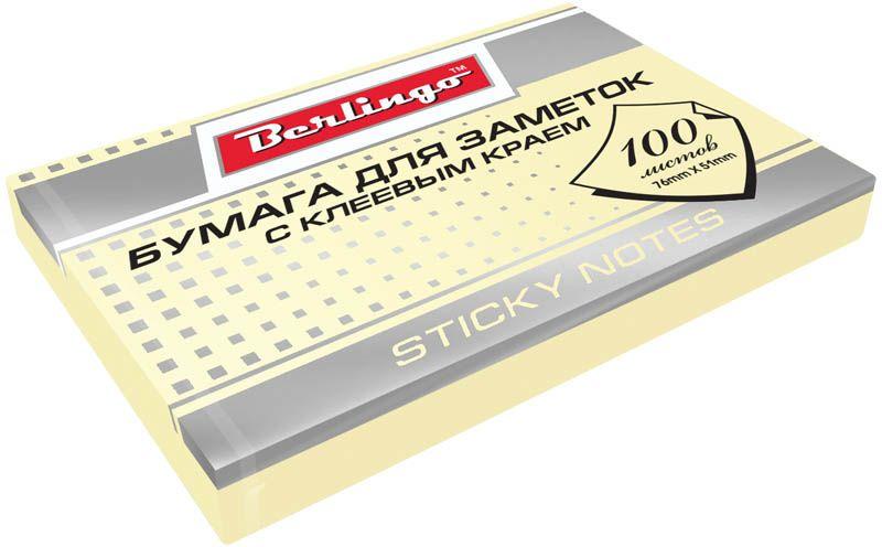 Berlingo Бумага для заметок с липким краем 7,6 х 5,1 см цвет желтый 100 листов2010440Бумага для заметок с липким краем Berlingo - это удобное и практичное решение для быстрой записи информации дома или на работе.Блок бумаги с клеевым краем рассчитанный на крепление к любой поверхности, не оставляет следов. Блок имеет желтый цвет. Размер блока - 76 х 51 мм. В блоке 100 листов.