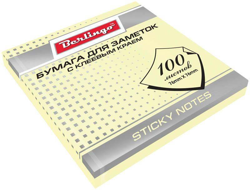 Berlingo Бумага для заметок с липким краем 7,6 х 7,6 см цвет желтый 100 листов62008Бумага для заметок с липким краем Berlingo - это удобное и практичное решение для быстрой записи информации дома или на работе.Блок бумаги с клеевым краем рассчитанный на крепление к любой поверхности, не оставляет следов. Блок имеет спокойный пастельный желтый цвет. Размер блока - 76 х 76 мм. В блоке 100 листов.