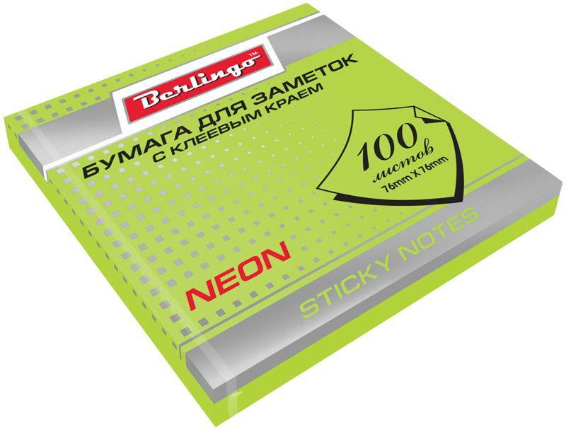 Berlingo Бумага для заметок с липким краем Neon 7,6 х 7,6 см цвет зеленый 100 листов0703415Бумага для заметок с липким краем Berlingo - это удобное и практическое решение для быстрой записи информации дома или на работе.Блок бумаги с клеевым краем рассчитанный на крепление к любой поверхности, не оставляет следов. Блок имеет яркий зеленый неоновый цвет. Размер блока - 76 х 76 мм. В блоке 100 листов.