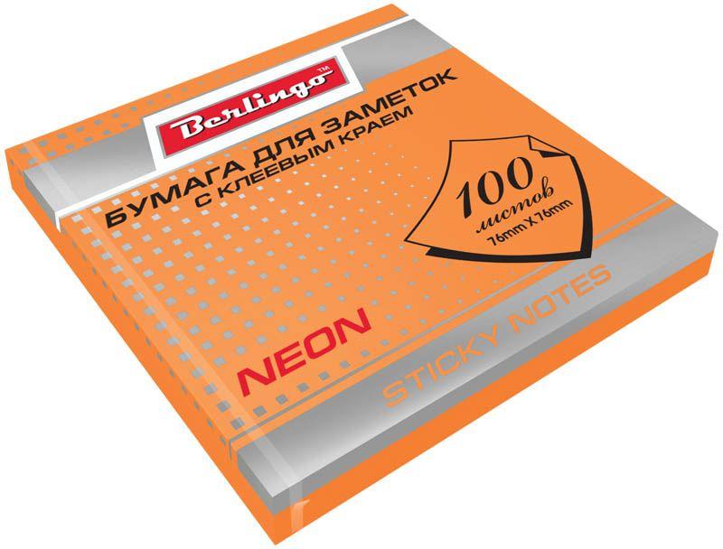 Berlingo Бумага для заметок с липким краем Neon 7,6 х 7,6 см цвет оранжевый 100 листов31753Бумага для заметок с липким краем Berlingo - это удобное и практическое решение для быстрой записи информации дома или на работе.Блок бумаги с клеевым краем рассчитанный на крепление к любой поверхности, не оставляет следов. Блок имеет яркий оранжевый неоновый цвет. Размер блока - 76 х 76 мм. В блоке 100 листов.