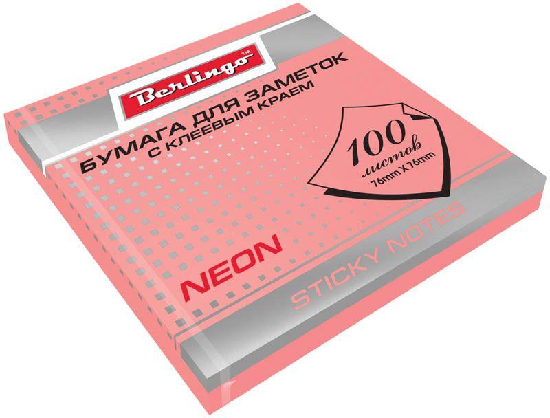 Berlingo Бумага для заметок с липким краем Neon 7,6 х 7,6 см цвет розовый 100 листов0703415Бумага для заметок с липким краем Berlingo - это удобное и практическое решение для быстрой записи информации дома или на работе.Блок бумаги с клеевым краем рассчитанный на крепление к любой поверхности, не оставляет следов. Блок имеет яркий неоновый розовый цвет. Размер блока - 76 х 76 мм. В блоке 100 листов.