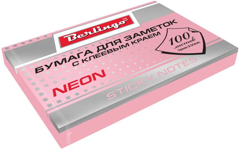 Berlingo Бумага для заметок с липким краем Neon 7,6 х 5,1 см цвет розовый 100 листов0703415Бумага для заметок с липким краем Berlingo Neon - это удобное и практичное решение для быстрой записи информации дома или на работе.Блок бумаги с клеевым краем рассчитанный на крепление к любой поверхности, не оставляет следов. Блок имеет яркий неоновый розовый цвет. Размер блока - 76 х 51 мм. В блоке 100 листов.