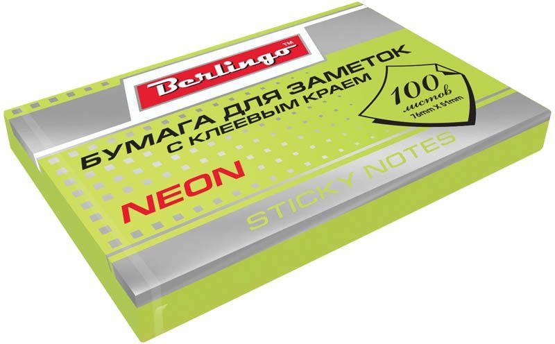 Berlingo Бумага для заметок с липким краем Neon 7,6 х 5,1 см цвет зеленый 100 листов0703415Бумага для заметок с липким краем Berlingo Neon- это удобное и практичное решение для быстрой записи информации дома или на работе.Блок бумаги с клеевым краем рассчитанный на крепление к любой поверхности, не оставляет следов. Блок имеет яркий неоновый зеленый цвет. Размер блока - 76 х 51 мм. В блоке 100 листов.