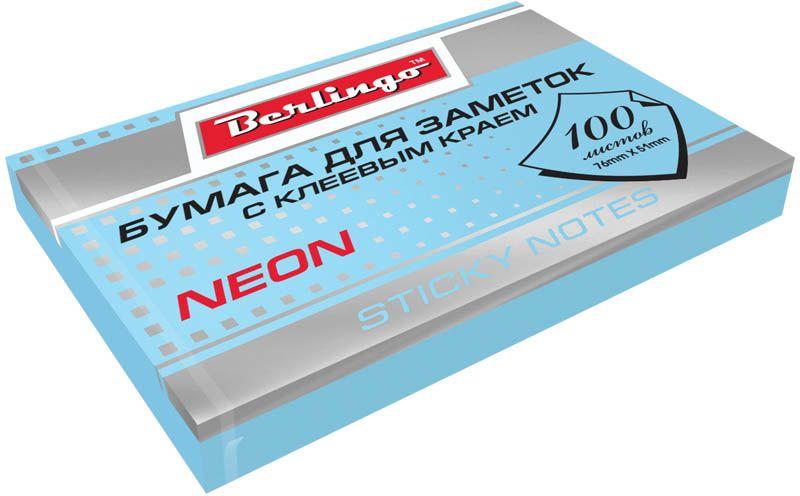Berlingo Бумага для заметок с липким краем Neon 7,6 х 5,1 см цвет голубой 100 листов