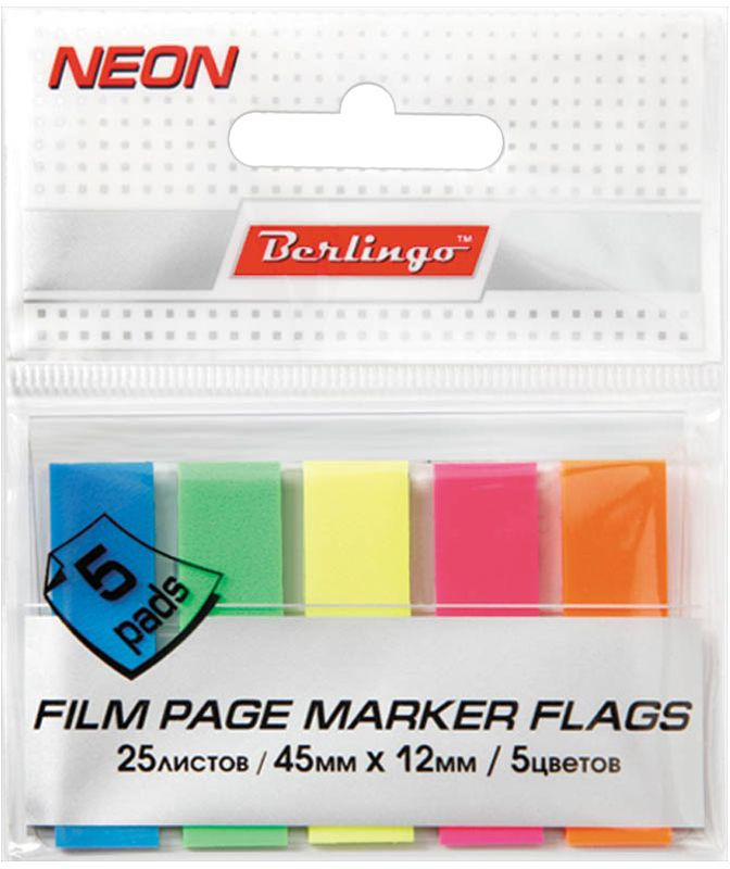 Berlingo Блок-закладка с липким слоем 1,2 х 4,5 см 20 листов Lsz_4512143563Самоклеящиеся пластиковые полупрозрачные флажки-закладки ярких неоновых цветов, упакованные в пакет с европодвесом. Подходят для крепления на любой поверхности. Легко отклеиваются не оставляя следов. Размер листа 45х12 мм. В блоке 5 ярких цветов.