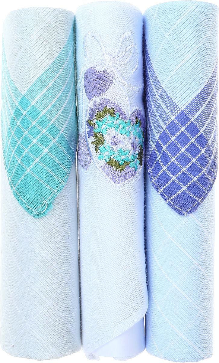 Платок носовой женский Zlata Korunka, цвет: бирюзовый, белый, голубой, 3 шт. 40423-21. Размер 28 см х 28 см39864 Серьги с подвескамиНебольшой женский носовой платок Zlata Korunka изготовлен из высококачественного натурального хлопка, благодаря чему приятен в использовании, хорошо стирается, не садится и отлично впитывает влагу. Практичный и изящный носовой платок будет незаменим в повседневной жизни любого современного человека. Такой платок послужит стильным аксессуаром и подчеркнет ваше превосходное чувство вкуса.В комплекте 3 платка.