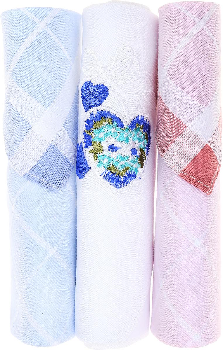 Платок носовой женский Zlata Korunka, цвет: голубой, белый, розовый, 3 шт. 40423-13. Размер 28 см х 28 смСерьги с подвескамиНебольшой женский носовой платок Zlata Korunka изготовлен из высококачественного натурального хлопка, благодаря чему приятен в использовании, хорошо стирается, не садится и отлично впитывает влагу. Практичный и изящный носовой платок будет незаменим в повседневной жизни любого современного человека. Такой платок послужит стильным аксессуаром и подчеркнет ваше превосходное чувство вкуса.В комплекте 3 платка.