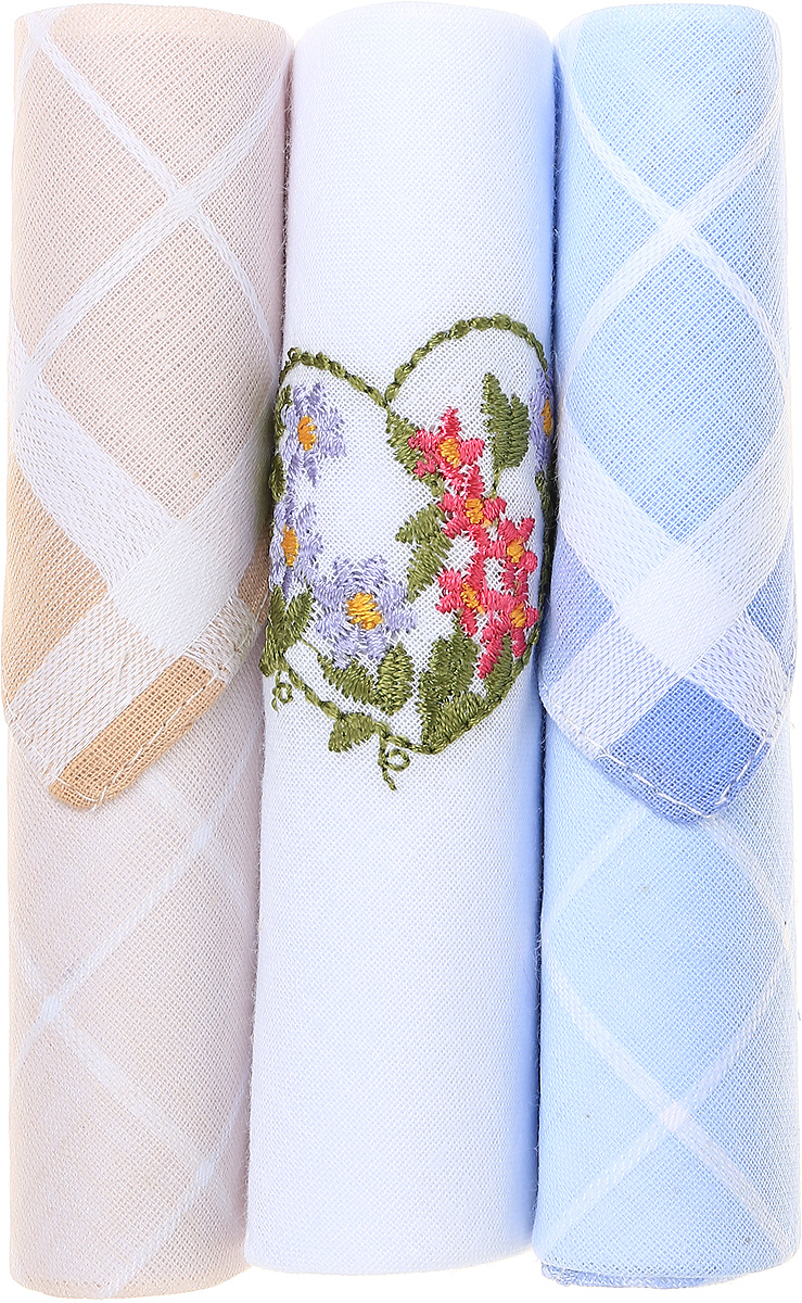 Платок носовой женский Zlata Korunka, цвет: бежевый, белый, голубой, 3 шт. 40423-36. Размер 28 см х 28 см39864|Серьги с подвескамиНебольшой женский носовой платок Zlata Korunka изготовлен из высококачественного натурального хлопка, благодаря чему приятен в использовании, хорошо стирается, не садится и отлично впитывает влагу. Практичный и изящный носовой платок будет незаменим в повседневной жизни любого современного человека. Такой платок послужит стильным аксессуаром и подчеркнет ваше превосходное чувство вкуса.В комплекте 3 платка.