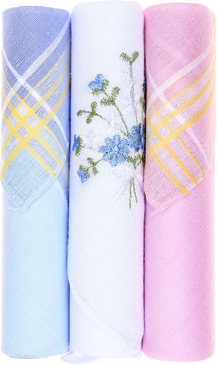 Платок носовой женский Zlata Korunka, цвет: голубой, белый, розовый, 3 шт. 40423-64. Размер 28 см х 28 см39864|Серьги с подвескамиНебольшой женский носовой платок Zlata Korunka изготовлен из высококачественного натурального хлопка, благодаря чему приятен в использовании, хорошо стирается, не садится и отлично впитывает влагу. Практичный и изящный носовой платок будет незаменим в повседневной жизни любого современного человека. Такой платок послужит стильным аксессуаром и подчеркнет ваше превосходное чувство вкуса.В комплекте 3 платка.