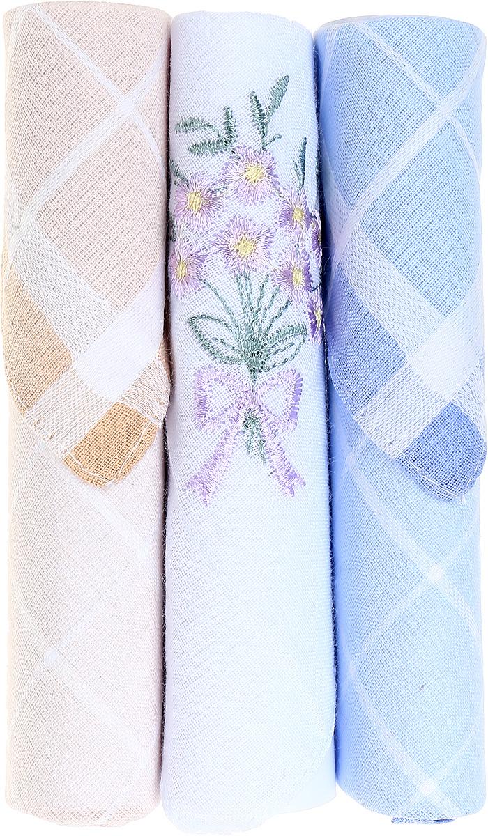 Платок носовой женский Zlata Korunka, цвет: бежевый, белый, голубой, 3 шт. 40423-103. Размер 28 см х 28 смГлидерный браслетНебольшой женский носовой платок Zlata Korunka изготовлен из высококачественного натурального хлопка, благодаря чему приятен в использовании, хорошо стирается, не садится и отлично впитывает влагу. Практичный и изящный носовой платок будет незаменим в повседневной жизни любого современного человека. Такой платок послужит стильным аксессуаром и подчеркнет ваше превосходное чувство вкуса.В комплекте 3 платка.