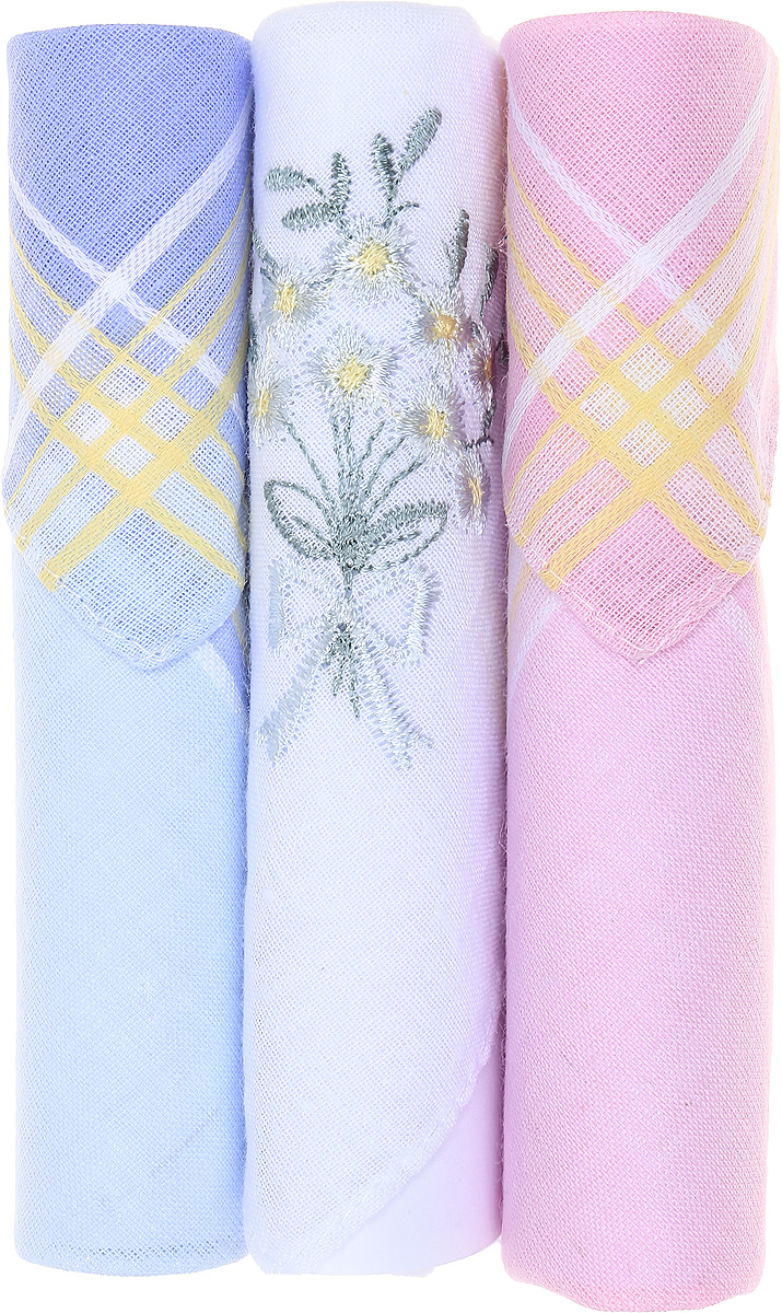Платок носовой женский Zlata Korunka, цвет: голубой, белый, розовый, 3 шт. 40423-114. Размер 28 см х 28 см39890|Колье (короткие одноярусные бусы)Небольшой женский носовой платок Zlata Korunka изготовлен из высококачественного натурального хлопка, благодаря чему приятен в использовании, хорошо стирается, не садится и отлично впитывает влагу. Практичный и изящный носовой платок будет незаменим в повседневной жизни любого современного человека. Такой платок послужит стильным аксессуаром и подчеркнет ваше превосходное чувство вкуса.В комплекте 3 платка.