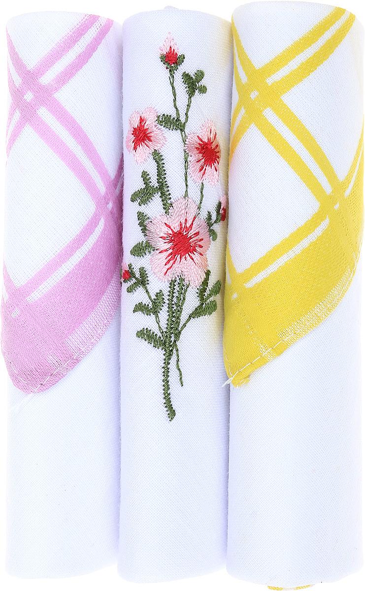 Платок носовой женский Zlata Korunka, цвет: розовый, белый, желтый, 3 шт. 40423-67. Размер 28 см х 28 см39864|Серьги с подвескамиНебольшой женский носовой платок Zlata Korunka изготовлен из высококачественного натурального хлопка, благодаря чему приятен в использовании, хорошо стирается, не садится и отлично впитывает влагу. Практичный и изящный носовой платок будет незаменим в повседневной жизни любого современного человека. Такой платок послужит стильным аксессуаром и подчеркнет ваше превосходное чувство вкуса.В комплекте 3 платка.