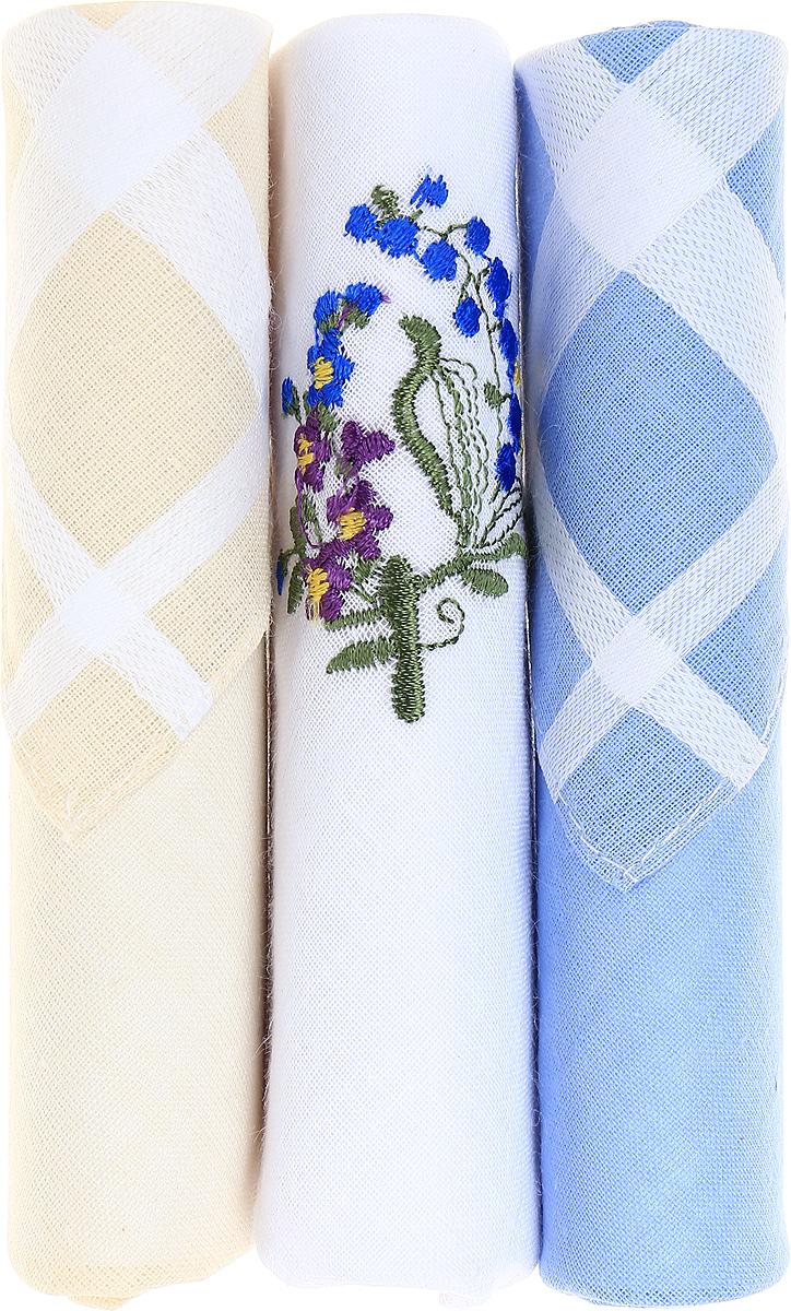 Платок носовой женский Zlata Korunka, цвет: бежевый, белый, голубой, 3 шт. 40423-131. Размер 28 см х 28 смСерьги с подвескамиНебольшой женский носовой платок Zlata Korunka изготовлен из высококачественного натурального хлопка, благодаря чему приятен в использовании, хорошо стирается, не садится и отлично впитывает влагу. Практичный и изящный носовой платок будет незаменим в повседневной жизни любого современного человека. Такой платок послужит стильным аксессуаром и подчеркнет ваше превосходное чувство вкуса.В комплекте 3 платка.