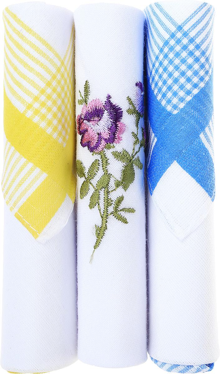 Платок носовой женский Zlata Korunka, цвет: белый, желтый, синий, 3 шт. 40423-93. Размер 28 см х 28 см39864|Серьги с подвескамиНебольшой женский носовой платок Zlata Korunka изготовлен из высококачественного натурального хлопка, благодаря чему приятен в использовании, хорошо стирается, не садится и отлично впитывает влагу. Практичный и изящный носовой платок будет незаменим в повседневной жизни любого современного человека. Такой платок послужит стильным аксессуаром и подчеркнет ваше превосходное чувство вкуса.В комплекте 3 платка.