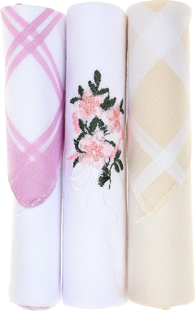 Платок носовой женский Zlata Korunka, цвет: розовый, белый, желтый, 3 шт. 40423-11. Размер 28 см х 28 смСерьги с подвескамиНебольшой женский носовой платок Zlata Korunka изготовлен из высококачественного натурального хлопка, благодаря чему приятен в использовании, хорошо стирается, не садится и отлично впитывает влагу. Практичный и изящный носовой платок будет незаменим в повседневной жизни любого современного человека. Такой платок послужит стильным аксессуаром и подчеркнет ваше превосходное чувство вкуса.В комплекте 3 платка.