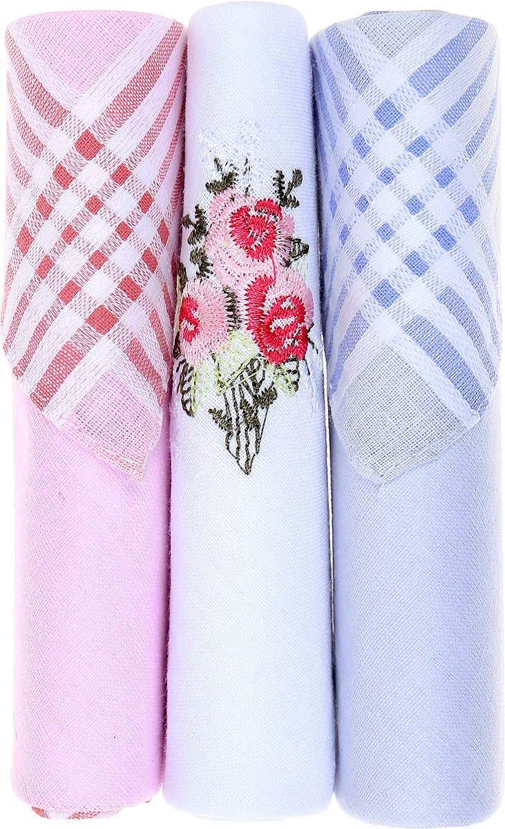 Платок носовой женский Zlata Korunka, цвет: розовый, белый, голубой, 3 шт. 40423-8. Размер 28 см х 28 см39864|Серьги с подвескамиНебольшой женский носовой платок Zlata Korunka изготовлен из высококачественного натурального хлопка, благодаря чему приятен в использовании, хорошо стирается, не садится и отлично впитывает влагу. Практичный и изящный носовой платок будет незаменим в повседневной жизни любого современного человека. Такой платок послужит стильным аксессуаром и подчеркнет ваше превосходное чувство вкуса.В комплекте 3 платка.