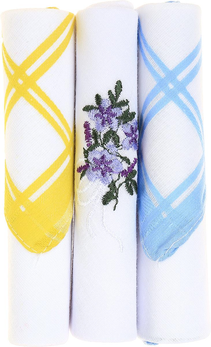 Платок носовой женский Zlata Korunka, цвет: желтый, белый, голубой, 3 шт. 40423-12. Размер 28 см х 28 см39864|Серьги с подвескамиНебольшой женский носовой платок Zlata Korunka изготовлен из высококачественного натурального хлопка, благодаря чему приятен в использовании, хорошо стирается, не садится и отлично впитывает влагу. Практичный и изящный носовой платок будет незаменим в повседневной жизни любого современного человека. Такой платок послужит стильным аксессуаром и подчеркнет ваше превосходное чувство вкуса.В комплекте 3 платка.