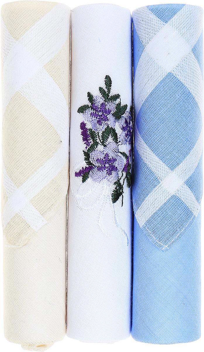 Платок носовой женский Zlata Korunka, цвет: бежевый, белый, голубой, 3 шт. 40423-40. Размер 28 см х 28 см39864|Серьги с подвескамиНебольшой женский носовой платок Zlata Korunka изготовлен из высококачественного натурального хлопка, благодаря чему приятен в использовании, хорошо стирается, не садится и отлично впитывает влагу. Практичный и изящный носовой платок будет незаменим в повседневной жизни любого современного человека. Такой платок послужит стильным аксессуаром и подчеркнет ваше превосходное чувство вкуса.В комплекте 3 платка.